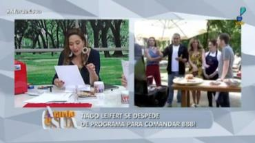 """Tiago Leifert se despede de programa dando graças a Deus"", dispara Sonia"