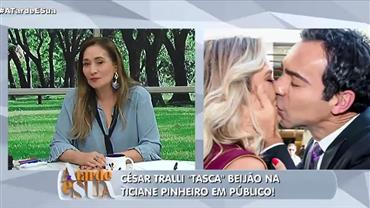 César Tralli e Ticiane Pinheiro trocam beijos em evento de moda
