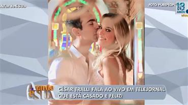 César Tralli quebra protocolo e fala sobre casamento com Tici em telejornal