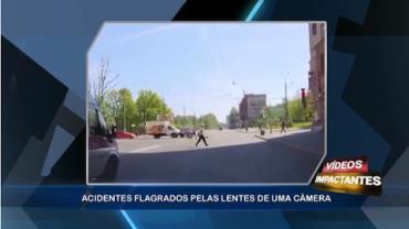 Vídeo mostra momento inacreditável em que senhora escapa de acidente